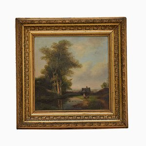 Antique Landscape Oil Painting in Gilt Wood Frame