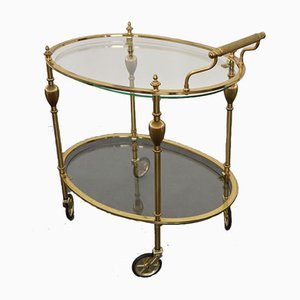French Brass & Glass Bar Cart / Trolley with Removable Tray, 1950s