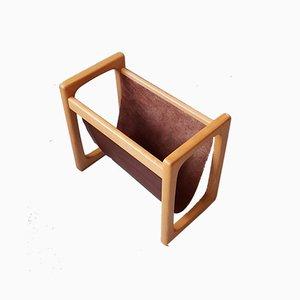 Revistero escandinavo de madera y cuero, años 70