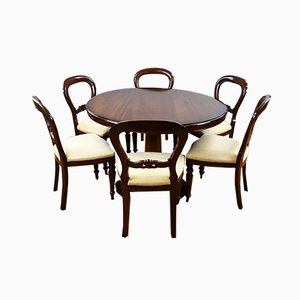 Victorian Style Round Mahogany Dining Table & 6 Chairs, 1980s, Set of 7