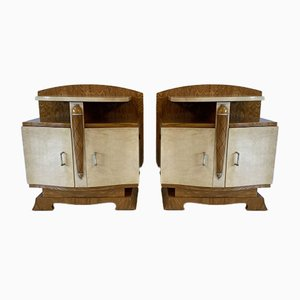French Art Deco Parchment & Ash Nightstands, 1930s, Set of 2