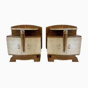 Tables de Chevet Art Déco en Parchemin & Frêne, France, 1930s, Set de 2