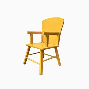 Mid-Century Yellow Wooden Children's Chair