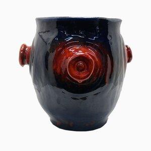 Großer glasierter Keramik Blumentopf von Marta Borocz, 1977