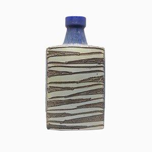 Vintage Zig Zag Vase aus glasierter Keramik in Blau und Beige von Scheurich