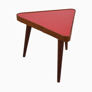 Vintage Red Triangular Plant Table, 1960s