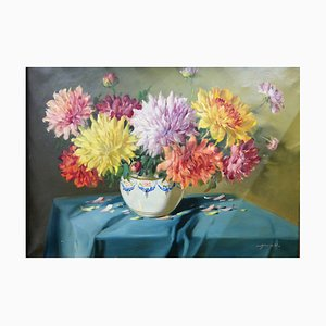 Still Life with Chrysanthemum Flowers in Florentin Frame, Vilmos Murin, 1930s
