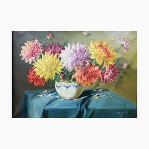 Stillleben mit Blumen aus Chrysanthemen in Florentin Rahmen, Vilmos Murin, 1930er