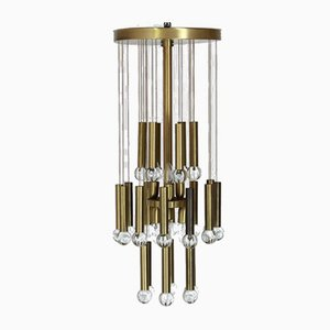 Brass and Glass Ceiling Lamp in the Style of Gaetano Sciolari, 1979