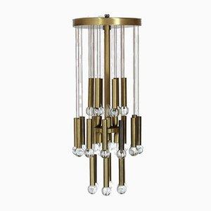 Deckenlampe aus Messing & Glas im Stil von Gaetano Sciolari, 1979