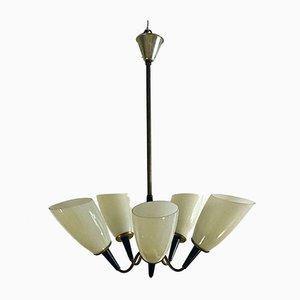 Lampe de Bureau à 5 Bras en Laiton et Verre, Italie, 1950s