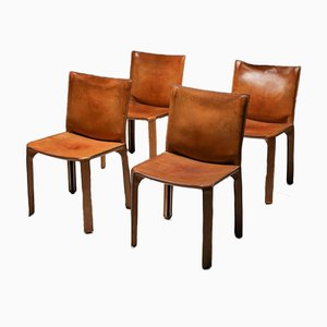 Vintage Cognac CAB Chairs by Mario Bellini for Cassina, Set of 4