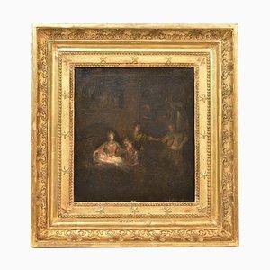 Peinture Religieuse à l'Huile sur Toile, Sainte Famille, 18ème Siècle