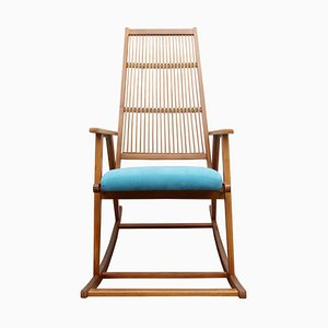 Woven Light Blue Rocking Chair, 1950s