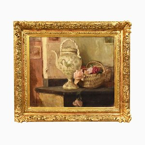 Stilllebenmalerei, Rosen und Amphora, Ölgemälde auf Leinwand, 20. Jahrhundert