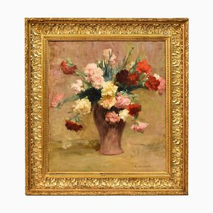 Peinture Florale, Bouquet d'Oeillets, Huile sur Toile, Achille Cesbron, 19ème Siècle