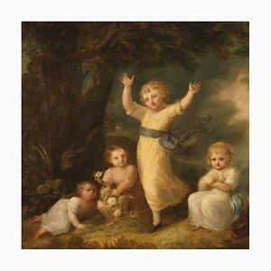 Gemälde, 19. Jahrhundert, Eine Partie Mädchen mit Tauben