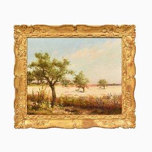 Pittura del parco, pittura floreale, paesaggio ad olio