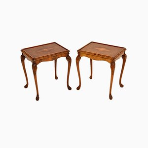 Tables d'Appoint Vintage en Loupe de Noyer, Set de 2