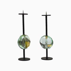 Portacandele in metallo e vetro di Max Ingrand per Fontana Arte, anni '50, set di 2