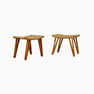 Pouf in legno con seduta in paglia intrecciata di Augusto Romano, anni '40, set di 2