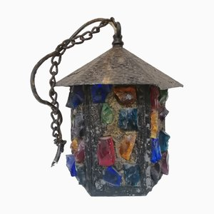 English Arts & Crafts Glass, Lead & Hammered Sheet Metal Porch Lantern by Peter Marsh, 1950s