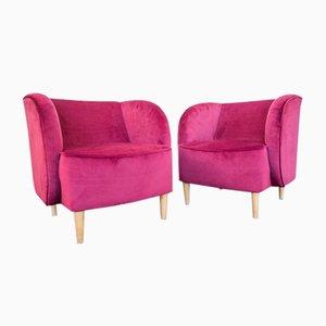 Plum Samt Sessel mit Kegelförmigen Ahorn Füßen von ISA Bergamo, 1950er, 2er Set