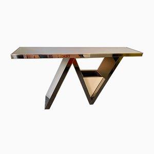 Italian Mirrored Bronze & Brass Console Table from Nazaret, 1970s