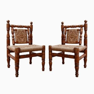 Mid-Century French Audoux & Minet Style Lounge Chairs, Set of 2