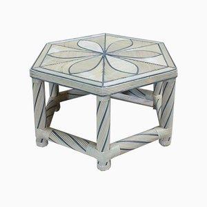 Tavolino da caffè esagonale in bambù, anni '80