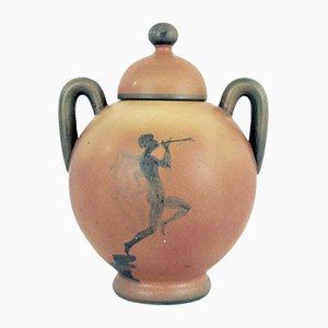 Urna Art Déco in ceramica con coperchio di Åke Holm, Svezia, anni '20
