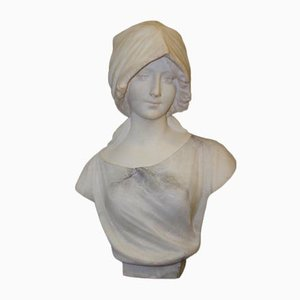 Alabaster Two Tone Bust of Woman by Pugi, 1900s