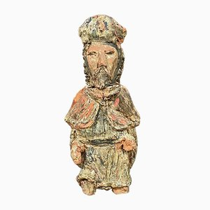 Statue of Saint in Polychrome Terracotta
