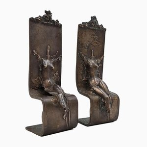 Antique Bronze Handmade Sculptures, Set of 2
