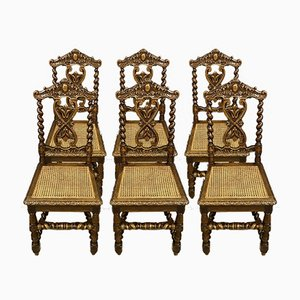 Oak Dining Chairs, 1850s, Set of 6