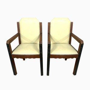 Ebony and Mahogany Lounge Chairs, 1920s, Set of 2