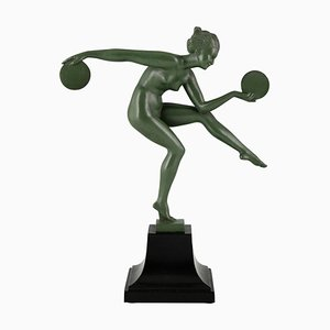 Art Deco Nude Disc Dancer Sculpture by Derenne, Marcel Bouraine, 1930