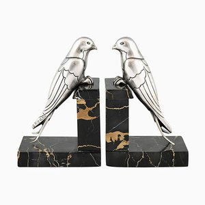 Art Deco Silvered Bronze Swallow Bookends by Suzanne Bizard, 1930s, Set of 2