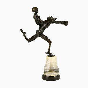 Jugendstil Bronze Skulptur Satyr und Akt von Hans Piffrader, 1900er