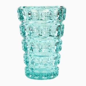 Grand Vase Turquoise en Verre Pressé par Frantisek Pečený, 1963