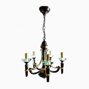 Italian Black & Gold Lacquered Brass Chandelier from Lampart, 1970s