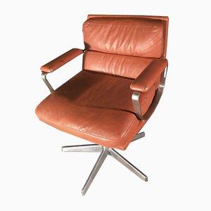 Italian Leather Swivel Armchair, 1970s