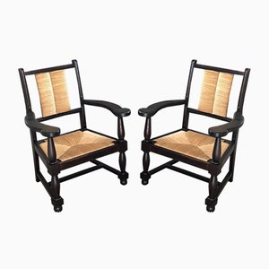 Oak and Straw Lounge Chairs, 1950s, Set of 2