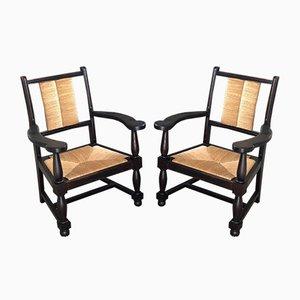 Sessel aus Eiche & Stroh, 1950er, 2er Set