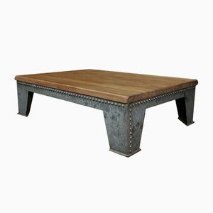 Industrial Riveted Metal & Oak Coffee Table, 1920s