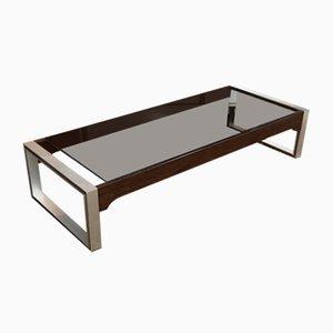 Table Basse en Palissandre, Aluminium et Verre par Claude Gaillard pour Ligne Roset, 1970s