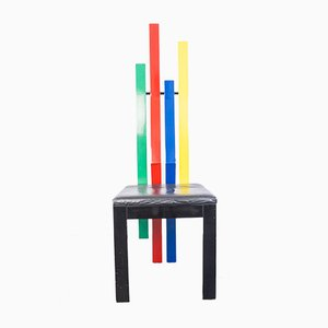 Multicolored Wooden Chair, 1980s