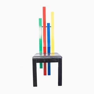 Silla de madera multicolor, años 80