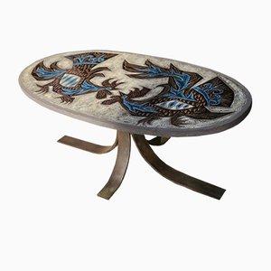 Tavolino da caffè Lava Combat de Coqs smaltato di Jean Jaffeux, anni '60