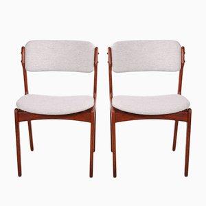 Teak Model 49 Dining Chairs by Erik Buch for Odense Maskinsnedkeri / OD Furniture, 1960s, Set of 2